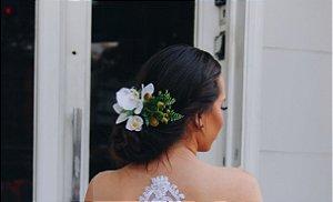Arranjo para cabelo de noiva flor artificial orquídea