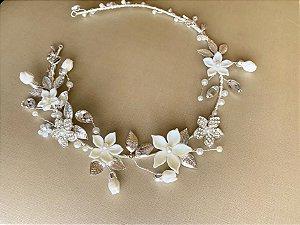 Tiara para noiva banho de prata e flores