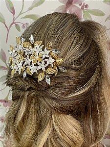 Pente para cabelo de noiva flores biscuit