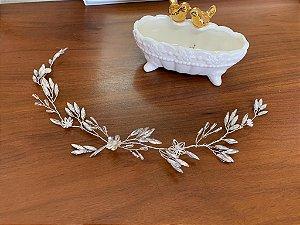 Grinalda enfeite para cabelo de noiva em pedrarias navete banho de prata