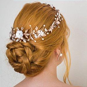 Headband ou tiara de noiva em pérolas flores  madrepérola banho de ouro rose