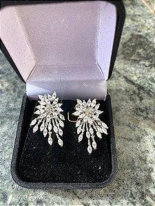 Brinco para noiva em zircônias ródio branco
