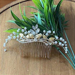Pente para cabelo de noiva strass e metais dourados