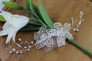 Pente para cabelo de noiva flores de metal banho de prata