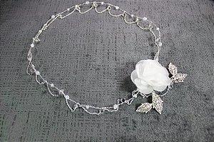 headband para noiva em cristais e flor branca