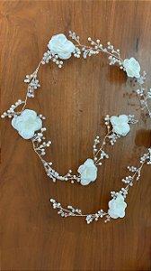 Fio de flores  cristais banho de prata