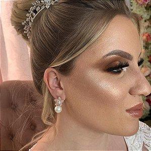 Brinco para noiva de pérola e zircônias banho de ouro rosé
