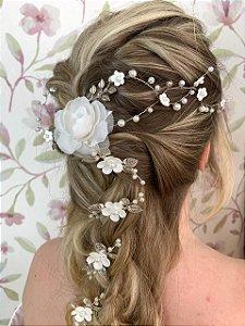 Conjunto de grampos para noiva de flores prateado