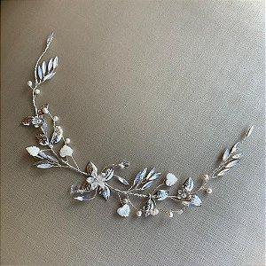 Arranjo para cabelo de  noiva  pérolas e madrepérolas banho de prata