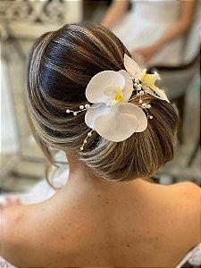 Duo de orquídeas brancas para cabelo de noiva