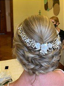 Tiara flores de madrepérola para noiva banho de prata