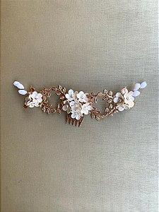 Pente com flores  para noivas metais banho rose gold
