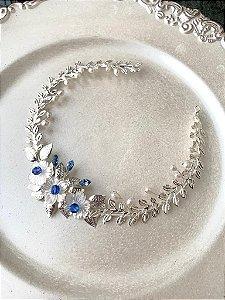 Tiara de noiva swarovski azul madrepérolas banho de prata