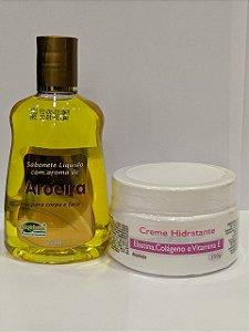 Kit Sabonete Líquido Aroeira & Creme Hidratante Elastina, Colágeno e Vitamina E
