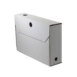 Caixa-arquivo branca 95mm com rótulo adesivo vermelho - 50 un