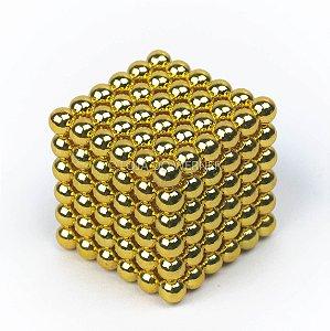Cubo Magnético dourado 216 Esferas Magnéticas Brinquedo 5mm