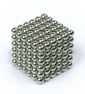 Cubo Magnético prateado 216 Esferas Magnéticas Brinquedo 5mm