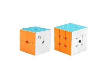 Cubo Mágico Profissional QiYi sem adesivo Kit 2x2x2 e 3x3x3