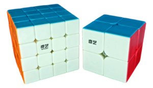 Cubo Mágico Profissional QiYi sem adesivo Kit 2x2x2 e 4x4x4