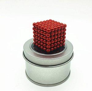 Cubo Magnético vermelho 216 Esferas Magnéticas Brinquedo 5mm
