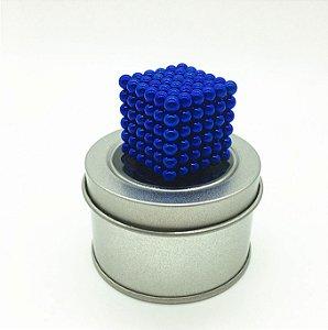 Cubo Magnético Azul 216 Esferas Magnéticas Brinquedo 5mm