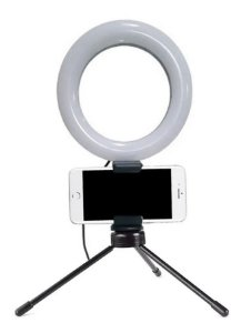 Iluminador Ring Light Pro Led Com Suporte De Mesa 3 Cores