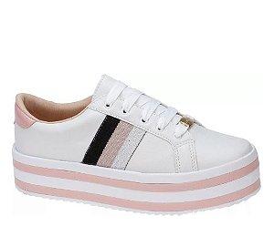 tênis flatform listras branco rosa