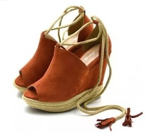 sandália anabela corda espadrille salto alto (várias cores)