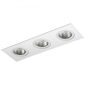 Luminária Retangular Embutir Foco Triplo Direcional 11x33cm E27
