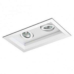 Luminária Retangular Embutir Recuada Foco Duplo Direcional 10,5x18,5cm