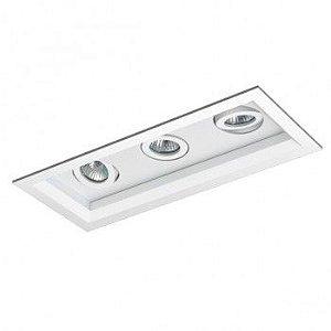 Luminária Retangular Embutir Recuada Foco Triplo Direcional 10,5x26cm