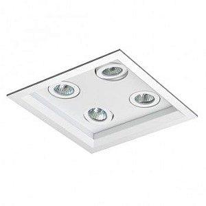 Luminária Quadrada 18x18cm Embutir Recuada Foco Quádruplo Direcional