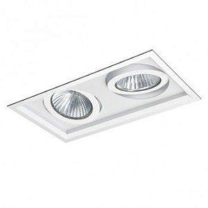 Luminária Retangular Embutir Recuada Foco Duplo Direcional 19x35cm PAR30