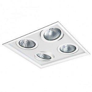 Luminária Quadrada 35x35cm Embutir Recuada Foco Quádruplo Direcional