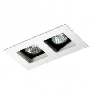 Luminária Retangular 7x12,5cm Embutir Foco Duplo Recuado Direcional