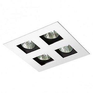 Luminária Quadrada 18x18cm Embutir Foco Quádruplo Recuado Direcional