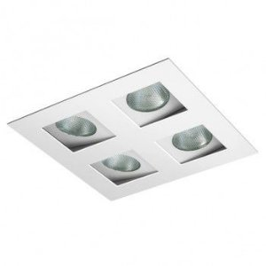 Luminária Quadrada Embutir Foco Quádruplo Recuado Direcional 23,5x23,5cm