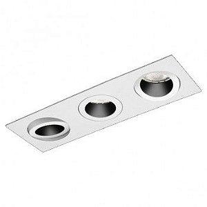 Spot Embutir Antiofuscante Foco Triplo Recuado Direcional 16x48cm