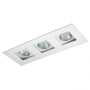 Luminária Retangular Embutir Foco Triplo Recuado Direcional 13,5x40cm PAR20