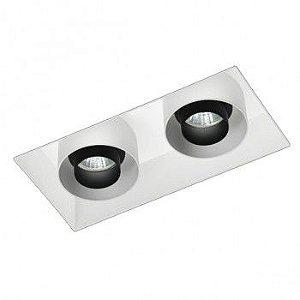 Luminária Retangular Embutir Foco Duplo Recuado Multidirecional  15,5x27cm