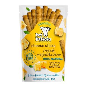 Petisco Snack Vegetariano Pet Delicia - Cheese Sticks 120g