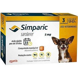 Simparic antipulgas para cães de 1,3 a 2,5 kg - 3 comprimidos