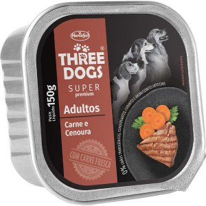 Patê Carne e Cenoura 150g - Three Dogs Cães Adultos