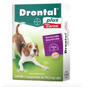 Vermífugo Drontal Plus Sabor Carne - 10kg com 4 Comprimidos Bayer