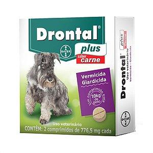 Vermífugo Drontal Plus Sabor Carne - 10kg com 2 Comprimidos Bayer