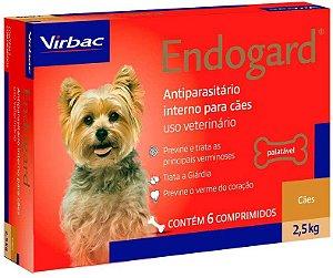 Vermífugo Endogard - Cães até 2,5kg Virbac 6 Comprimidos