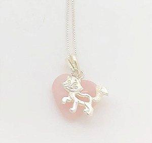 Gatinho Prata e Coração Quartzo Rosa