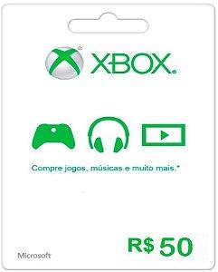 Cartão XBOX Live Brasil R$50 Reais - Microsoft