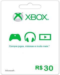 Cartão XBOX Live Brasil R$30 Reais - Microsoft