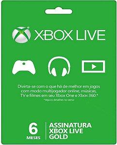 Cartão XBOX Live Gold - Assinatura 6 meses - Microsoft